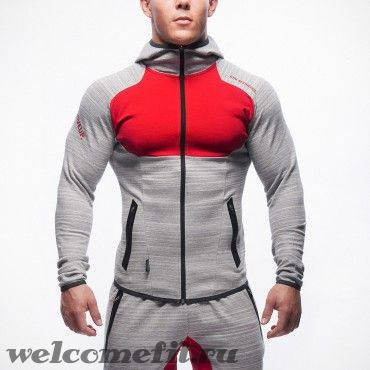 MUSCLE FIT ZIPPER GRAY-RED