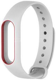 Ремешок для браслета Xiaomi Mi Band 2 белый с красным
