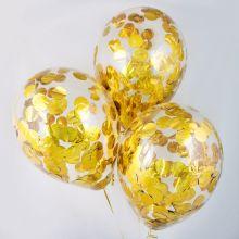Гелиевый шар с конфетти золото