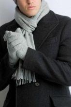 кашемировые перчатки мужские (100% драгоценный кашемир) , цвет светло-cерый Light Grey