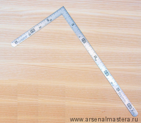 Угольник столярный плоский Shinwa 300 х 150 мм отсчёт нижней шкалы - от наружнего угла с шагом 5 мм SS,CS  12114 М00013226