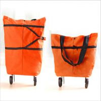 Складная сумка на колесиках (оранжевая)