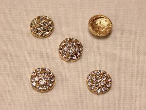Кабошон со стразами, круглый, цвет основы: золото, стразы: прозрачный, 10 мм (1уп = 10шт)