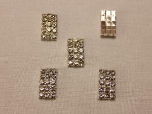 `Кабошон со стразами, прямоугольный, дуга, цвет основы: серебро, цвет стразы: прозрачный, размер: 19х10мм