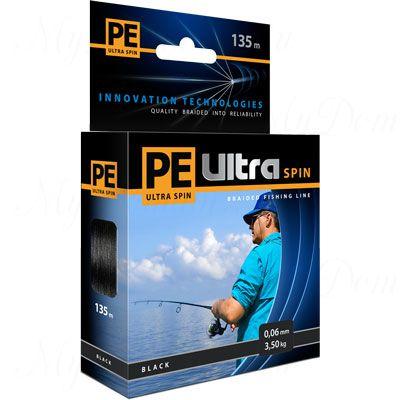 Плетеный шнур AQUA PE ULTRA Spin 135m black, 0.18mm