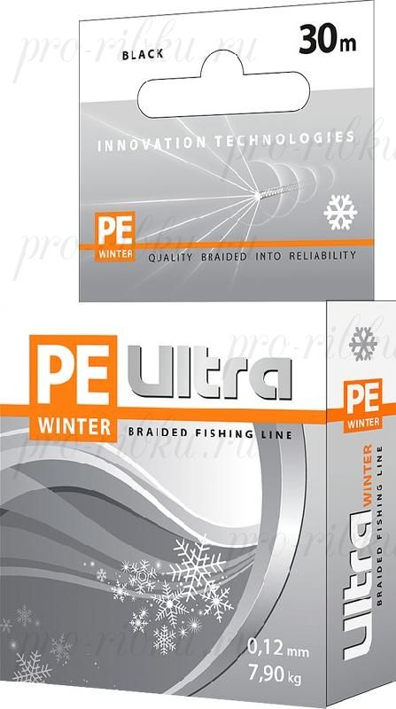 Плетеный шнур AQUA PE ULTRA Winter 30m 0.18mm, black