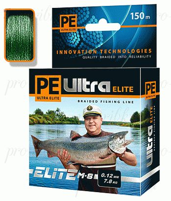 Плетеный шнур AQUA PE ULTRA ELITE M-8 150m dark green, d=0,14mm