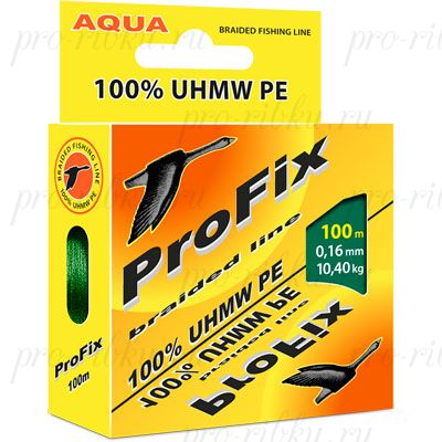 Плетеный шнур AQUA PROFIX 100m dark green, d=0,18mm