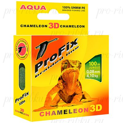 Плетеный шнур AQUA PROFIX Chameleon 3D 100m jungle, 0.14mm