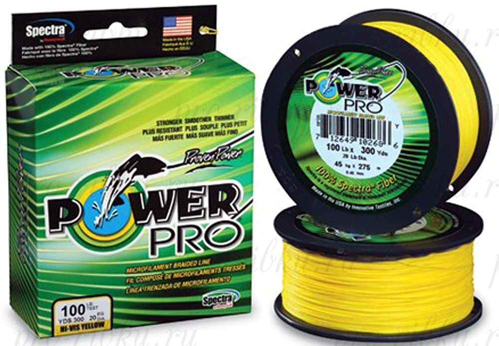 Плетеный шнур Power Pro 135m Hi-Vis Yellow d=0,23mm (15,0kg)