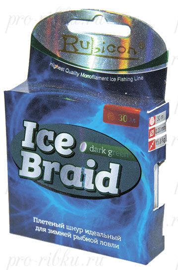 Зимняя плетеная леска RUBICON Ice Braid 30m dark green, d=0,16mm