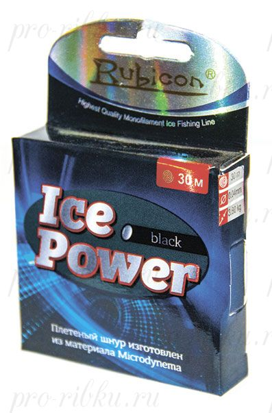 Плетеный шнур RUBICON Ice Power 30m black, d=0,06mm