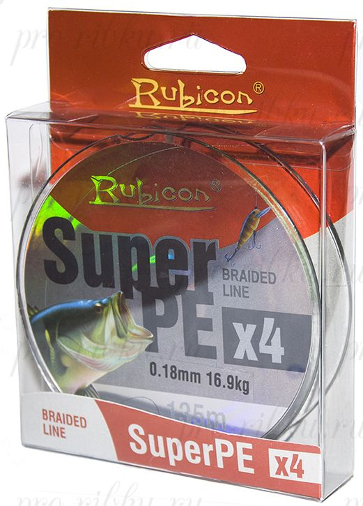 Леска плетеная RUBICON Super PE 4x 135m gray, d=0,37mm