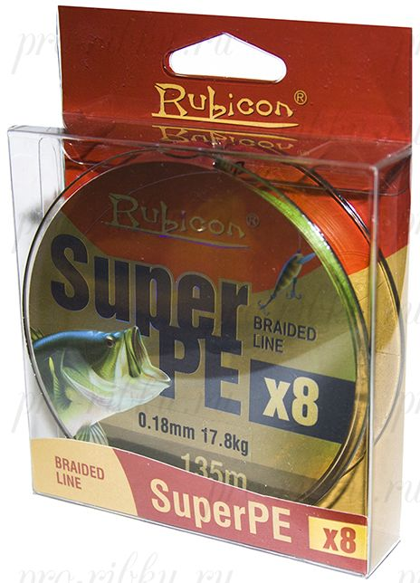 Леска плетеная RUBICON Super PE 8x 135m green, d=0,14mm