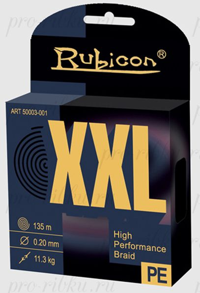 Плетеный шнур RUBICON XXL 135m black, d=0,18mm