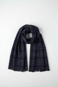 кашемировый широкий рельефный шарф (100% драгоценный кашемир), Textural Heritage Navy ( Текстчерэл Херитидж  Нэйви), плотность 5
