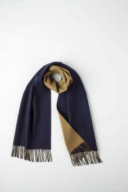 Роскошный двусторонний кашемировый шарф Гамильтон Контраст (темно-синий и цвет экрю) Hamilton Contrast   Navy Kelp (100% драгоценный кашемир),   высокая плотность 7