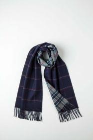 Роскошный двусторонний кашемировый шарф (100% драгоценный кашемир)ОКОННАЯ КЛЕТКА- ТРАДИЦИОННАЯ КЛЕТКА -ГЛУБОКИЙ СИНИЙ ЦВЕТ, WINDOWPANE / NAVY CHECK ,   высокая плотность 7