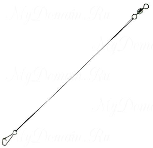 Поводок стальной STAR RIVER нейлон. покр.1x7 12kg, 25cm, Green (Interlock snap/Barrel swivel) 5шт