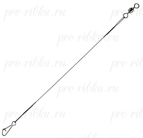 Поводок стальной STAR RIVER нейлон. покр.1x7 12kg, 30cm, Green (Interlock snap/Barrel swivel) 5шт