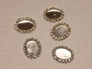 `Кабошон-основа со стразами, овал, цвет основы: серебро, размер: 23х18 мм