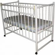 """Детская кроватка """"ВАСИЛЕК 2"""" белая (колесо+качалка+отк.планка)"""