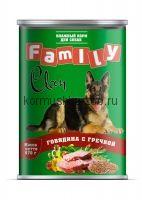 Clan FAMILY консервы для собак говядина с гречкой