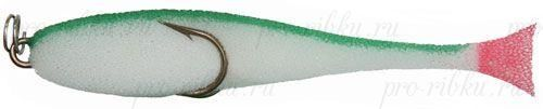 Рыбка поролоновая 6см на двойнике бело-зелен.