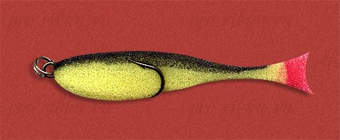 Рыбка поролоновая 7см на двойнике желто-черн.
