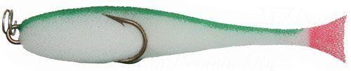 Рыбка поролоновая 10см на двойнике бело-зелен.
