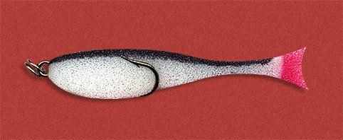 Рыбка поролоновая 10см на двойнике бело-черн.