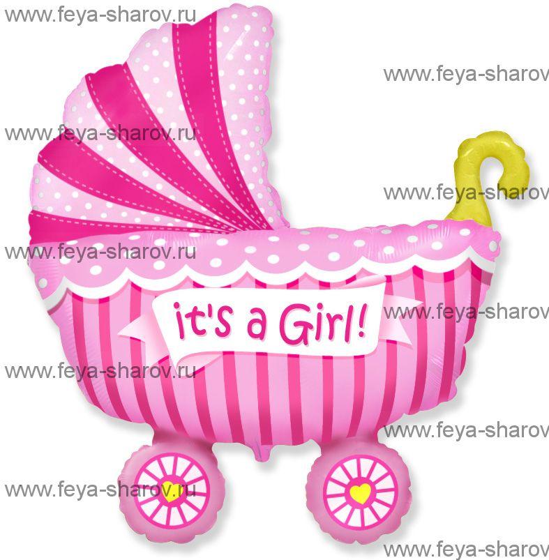 Шар коляска для девочки 102 см