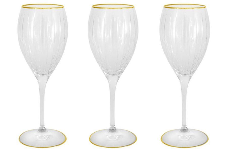 """Набор: 6 хрустальных бокалов для вина """"Пиза золото"""", 0.275 л"""