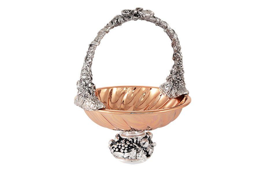 Конфетница с ручкой Маргарита с отделкой под розовое золото, 14 см, h20 см