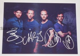 Автографы: Coldplay. Крис Мартин, Джонни Баклэнд, Гай Берримен, Уилл Чемпион