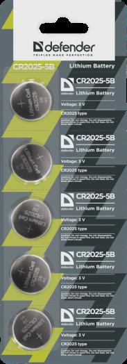 Батарейка литиевый элемент питания (диск) Defender CR2025-5B