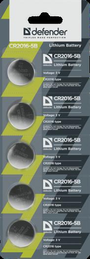 Батарейка литиевый элемент питания (диск) Defender CR2016-5B