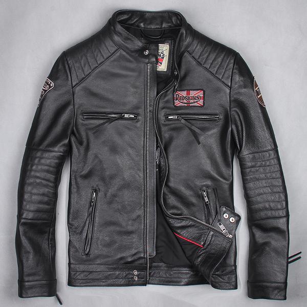 Классическая кожаная мотокуртка Urban Baron (черная)