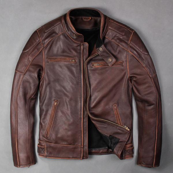 Классическая кожаная мотокуртка Urban Baron (коричневый)