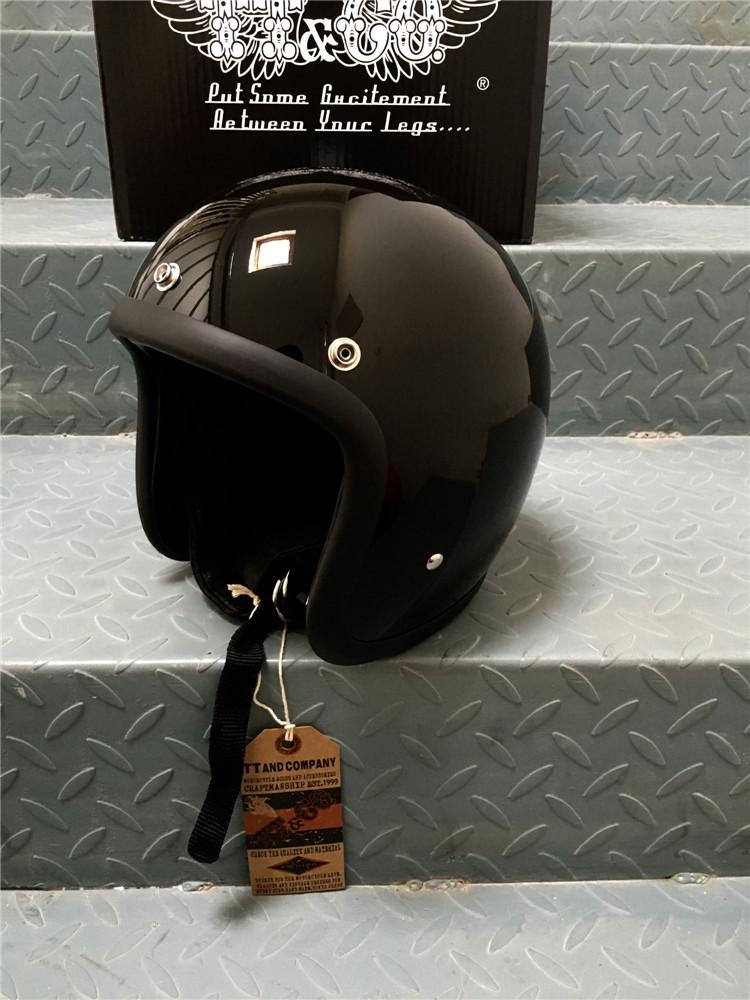Открытый мотошлем Ретро BornFree 500TX Черный Глянец