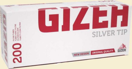 Сигаретные гильзы Gizeh Silver Tip Charbon (угольный ф-р) 200