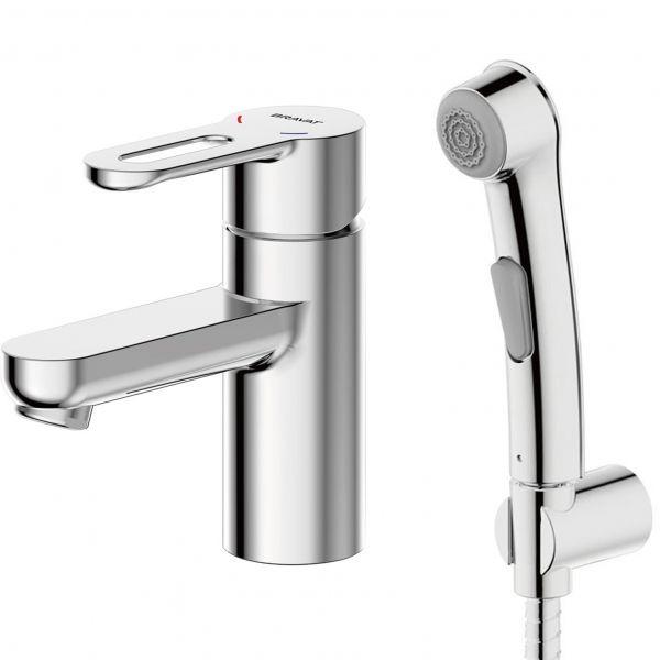 Смеситель для умывальника с гигиеническим душем Bravat Stream-D