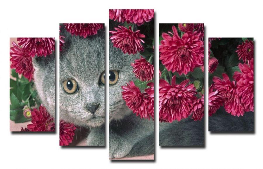 Модульная картина Котик и цветы