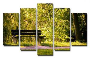 Модульная картина Скамейка в лесу