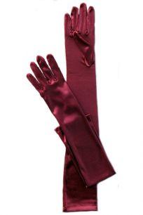 Бордовые перчатки атласные