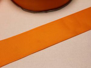 Лента репсовая однотонная 50 мм, длина 25 ярдов, цвет: оранжевый