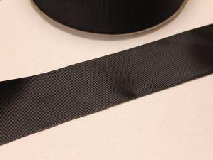 `Лента репсовая однотонная 50 мм, цвет: черный