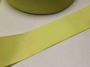 `Лента репсовая однотонная 50 мм, цвет: светло-желтый