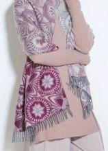 Роскошный нежный большой  шарф, 100 % драгоценный кашемир Мозайка Омбрэ Вишнёвый ,  MOSAIC OMBRE EFFECT PINK  (премиум), плотность 5