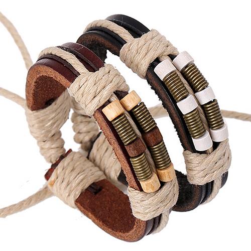 Кожаный браслет коричневый с фурнитурой
